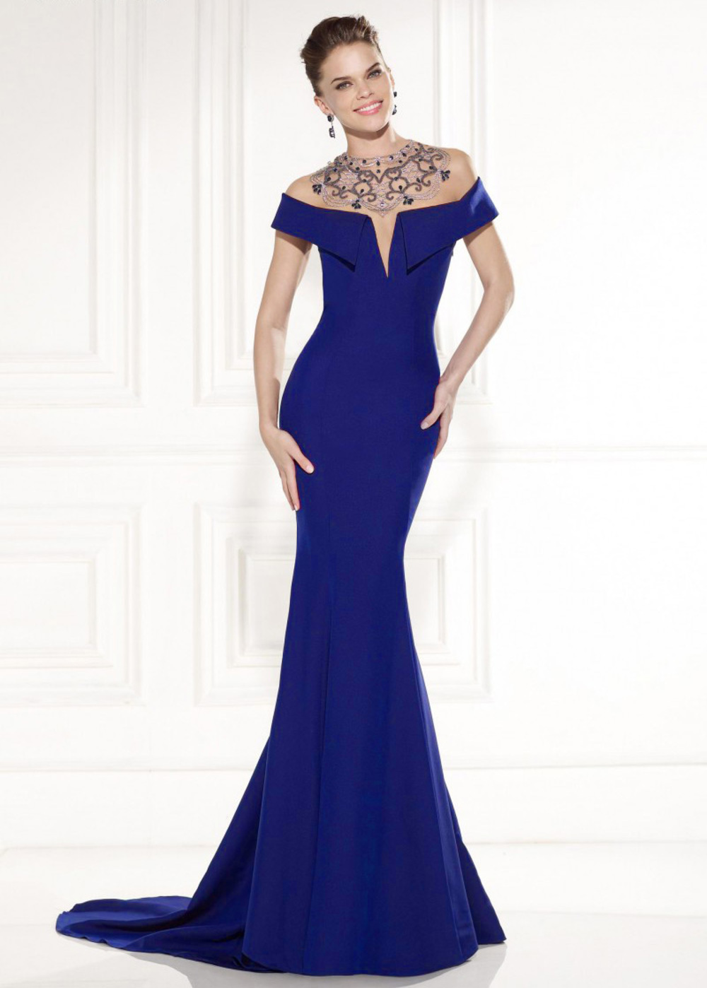 info for bb978 23903 Elegante raso stretch off-the-spalla scollatura Mermaid abito da sera  (SOD27753)