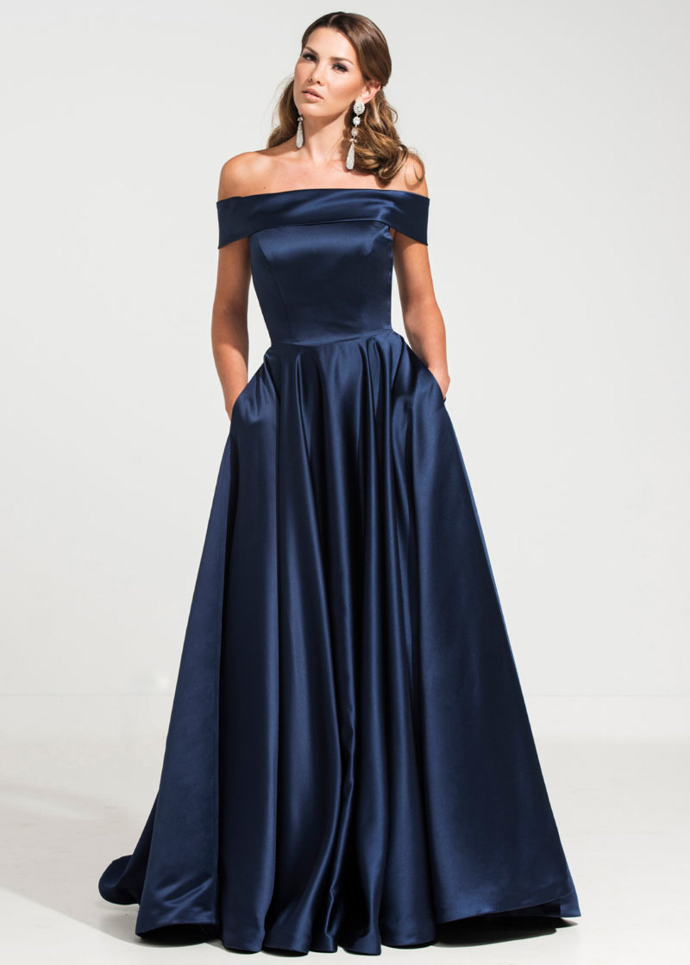 8e17d120037 -50% Graceful Satin Off-the-shoulder Neckline A-line Military Ball Gown  Dresses