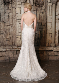 Elegante Satin & Lace Halter Collo Mermaid Abiti da sposa (WWD67360)