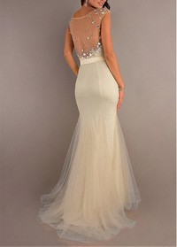 Gorgeous Tulle & Stretch Satin Mermaid Natural Waist Floor Length Sleeveless Prom Dress (SOD00KFJ)