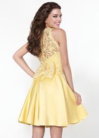 Lovely Satin High Collar Neckline A-Line Homecoming Dresses (SOD12408)