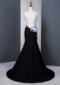 Delicate Stretch Satin Jewel Neckline Mermaid Formal Dress With Lace Appliques (SOD58896)