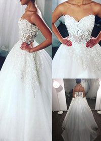 Wonderful Tulle Sweetheart Neckline See-through Bodice A-line Wedding Dress With Beaded Lace Appliques  (WWD88651)