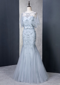Fantastic Tulle Scoop Neckline Natural Waistline Mermaid Evening Dress With Beaded Embroidery & Belt (SOD26064)
