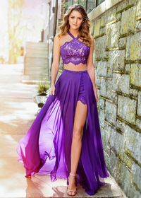 Graceful Chiffon & Lace Halter Neckline Two-piece A-line Prom Dress With lace Appliques & Hot-fix Rhinestones (SOD28771)