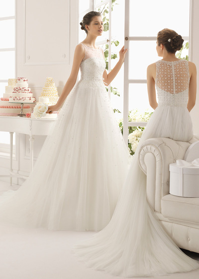 Elegant Tulle Jewel Neckline Natural Waistline A-line Wedding Dress With Beaded Lace Appliques (WWD94565)