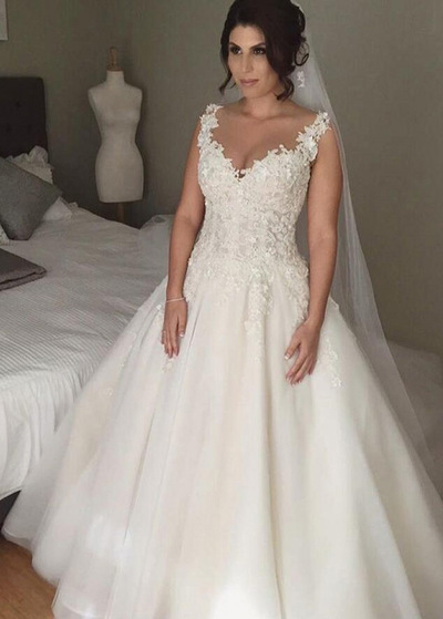 Charming Tulle & Satin V-Neck A-Line Wedding Dresses With Beaded Lace Appliques (WWD43562)