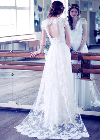 Elegant Silk-like Chiffon V-Neck A-Line Wedding Dresses (WWD89842)