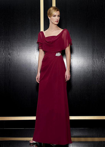 Chic Chiffon Sheath Cowl Neck Full-length Mother of the Bride Dresses with Cape Sleeves (WMD30020)