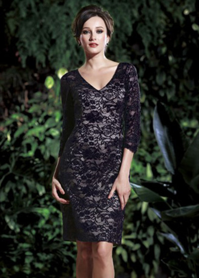 Stunning All-over Lace Sheath V-neck Neckline Short Mother of the Bride  Dress d5729abaa2f
