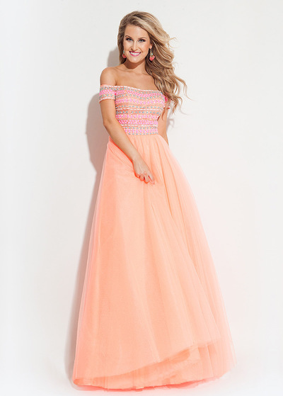 Splendida Tulle   Satin off-the-spalla A-Line Prom Dresses Con Beads 0d9650a6a44