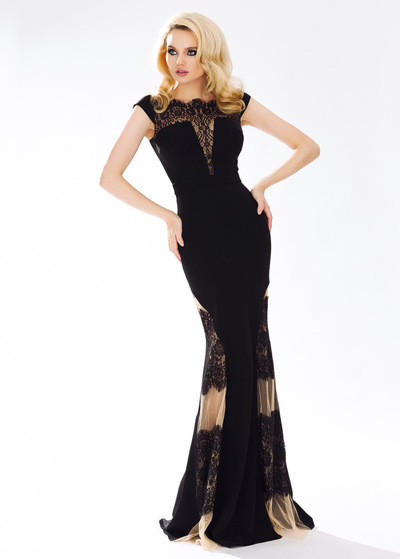 Graceful Stretch Satin & Tulle & Lace Jewel Ausschnitt-Hüllen-Abend-Kleid (SOD71988)