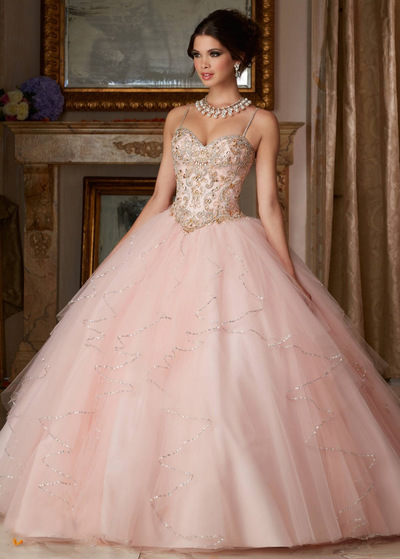 Fantastic Tulle Spaghetti Straps Neckline Ball Gown Quinceanera Dresses  With Embroidery   Beadings ee4efc014