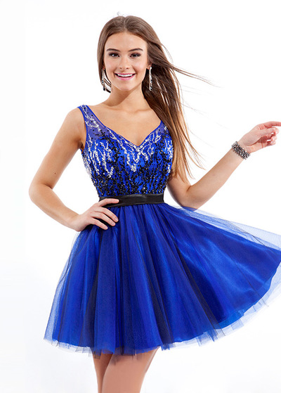 Chic Stretch Satin   tulle scollo a V scollatura breve una linea di  Homecoming Dress ( 211918d2109