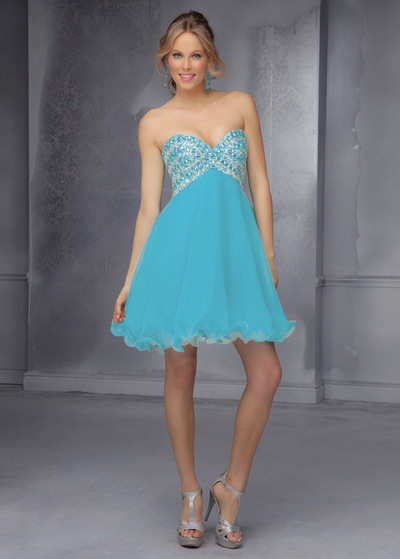 Charming seta come chiffon e tulle scollo a cuore breve una linea di  Homecoming Dress ( 71865661751
