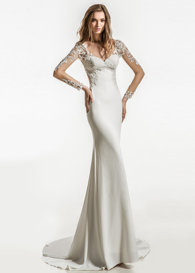 Modest Tulle & Acetate Satin V-neck Neckline Mermaid Wedding Dress With Beaded Lace Appliques