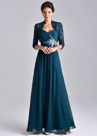 Unique Chiffon Spaghetti Straps Neckine Floor-length A-line Mother Of The Bride Dresses With Beadings & Detachable Coat (WMD96391)