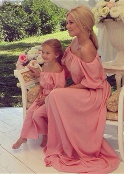 Exquisite Chiffon & Pongee Off-the-shoulder Neckline A-Line Prom/Mother and Daughter Dress