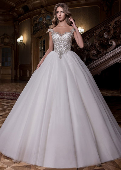 Wonderful Tulle Scoop Neckline Ball Gown Wedding Dress With Beaded Embroidery (WWD24888)