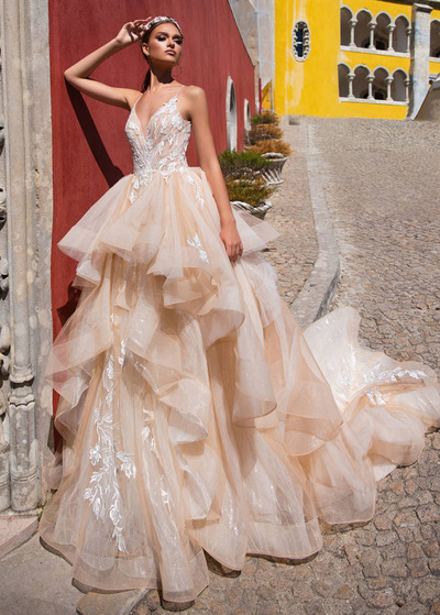 9d23773ecbec Fabulous Tulle Spaghetti Stapes Neckline Ball Gown Wedding Dress With Lace  Appliques   Beadings   Ruffles