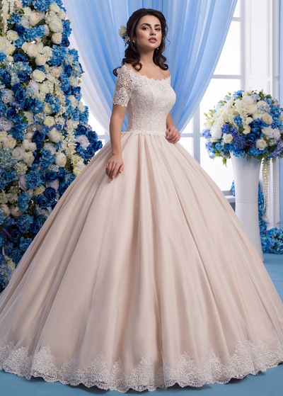 Wonderful Tulle Sheer Jewel Neckline Ball Gown Wedding Dress With Lace Appliques & 3D Flowers & Beadings (WWD84810)