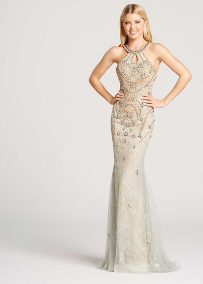Wonderful Tulle Jewel Neckline Backless Sheath / Column Evening Dress With Beadings (SOD27032)