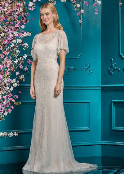 2bdf20ee Brilliant Tulle Scoop Neckline Sheath/Column Wedding Dress With Beaded  Embroidery (WWD51728)