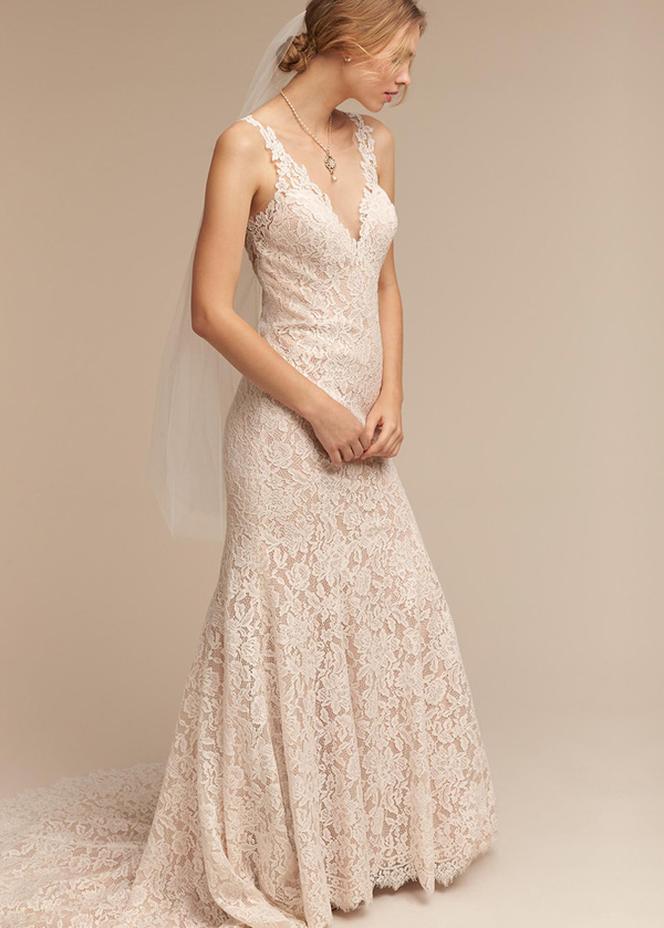 Eleganti abiti da sposa di Tulle & Lace Scoop Mermaid (WWD27184)