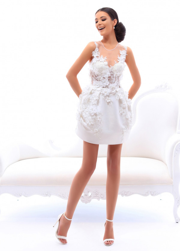 Excellent Satin Scoop Neckline Short A-line Homecoming Dress With Lace Appliques & 3D Flowers With Beadings (SOD90989)