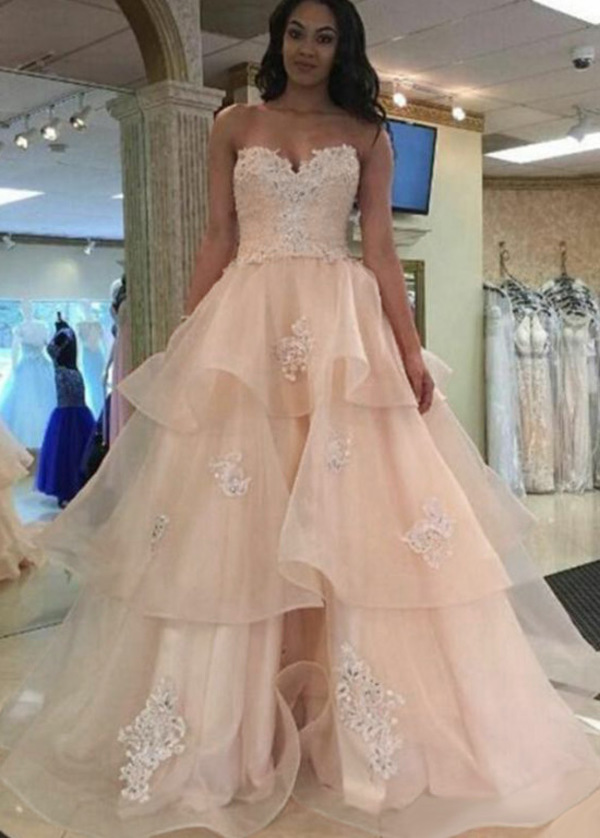 Wonderful Tulle Sweetheart Neckline A-line Prom Dress With Beaded Lace Appliques (SOD61763)